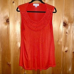 August silk orange sleeveless ruffle neck top XL